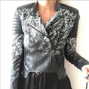 BCBG Luis Moto Jacket Faux Leather Black/White S